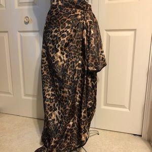 High-Low Leopard Print Wrap Skirt